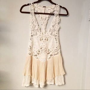 Free People Woven Lace Racerback Blouse Top